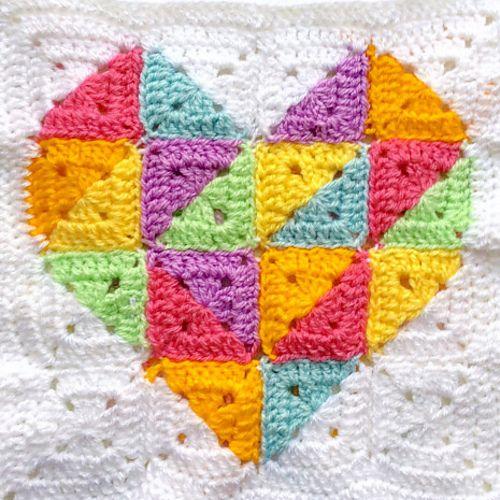 Ravelry: Rainbow Geometric Heart Square pattern by Crafty CC
