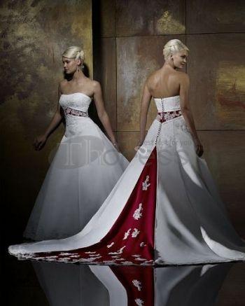Abiti da Sposa Colorati-Senza spalline ricamare rosso e abiti da sposa colorati bianco