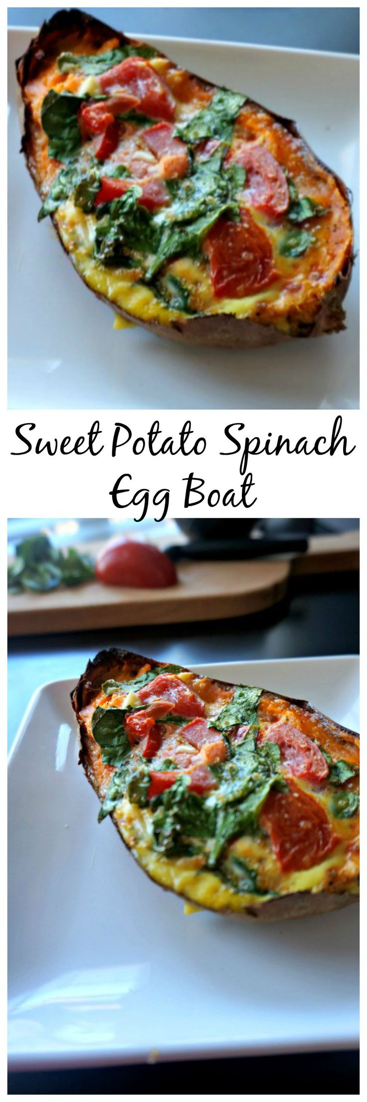 Sweet Potato Spinach Egg Bowl: A tenderly baked sweet potato, filled with a tomato, feta, and spinach baked egg.