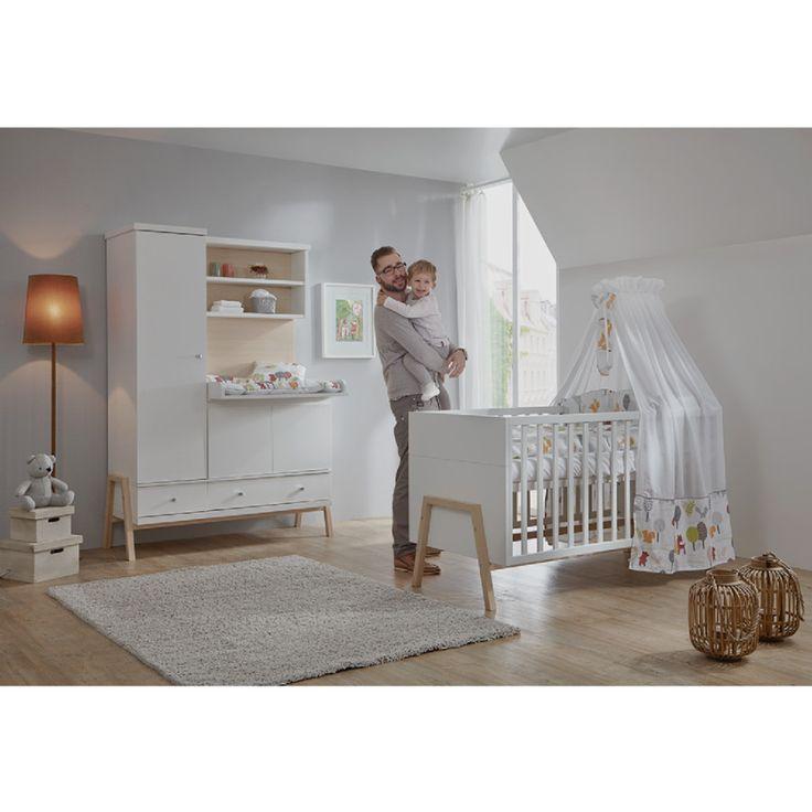 Simple SCHARDT Kinderzimmer Set HOLLY NATURE bestehend aus Kombi Kinderbett Umbauseiten und Wickelkommode und