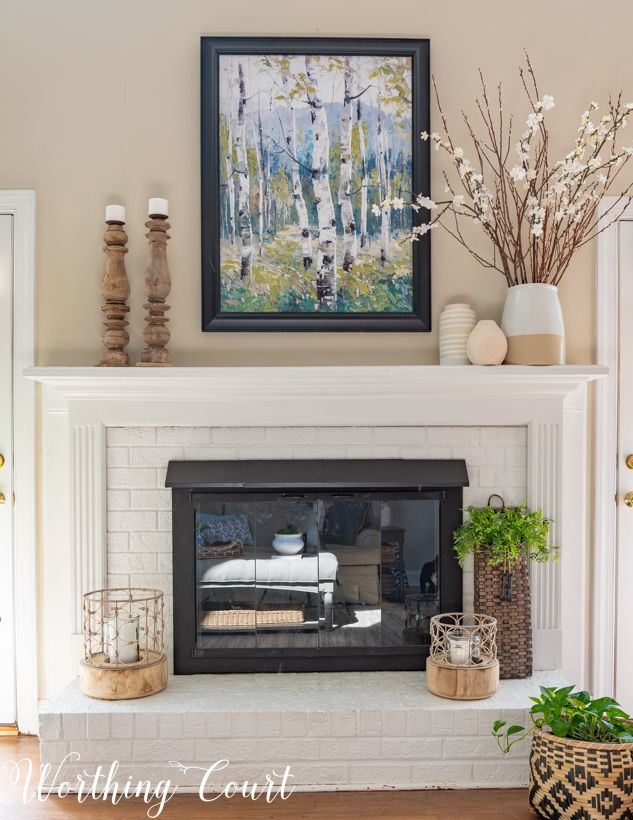 Family Room Makeover Reveal Just In Time For Spring Worthing Court Mantle Decor Decor Home Decor