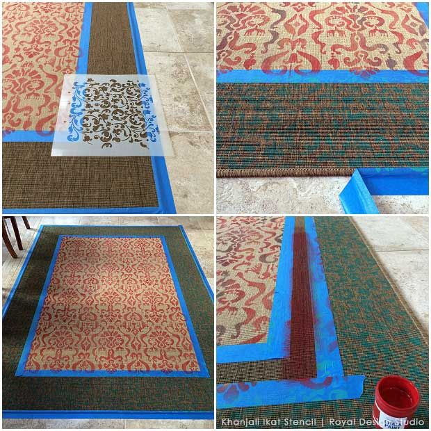 DIY steps for stenciling an inexpensive IKEA rug like an Oriental carpet using Chalk Paint and an Ikat stencil from Royal Design Studio