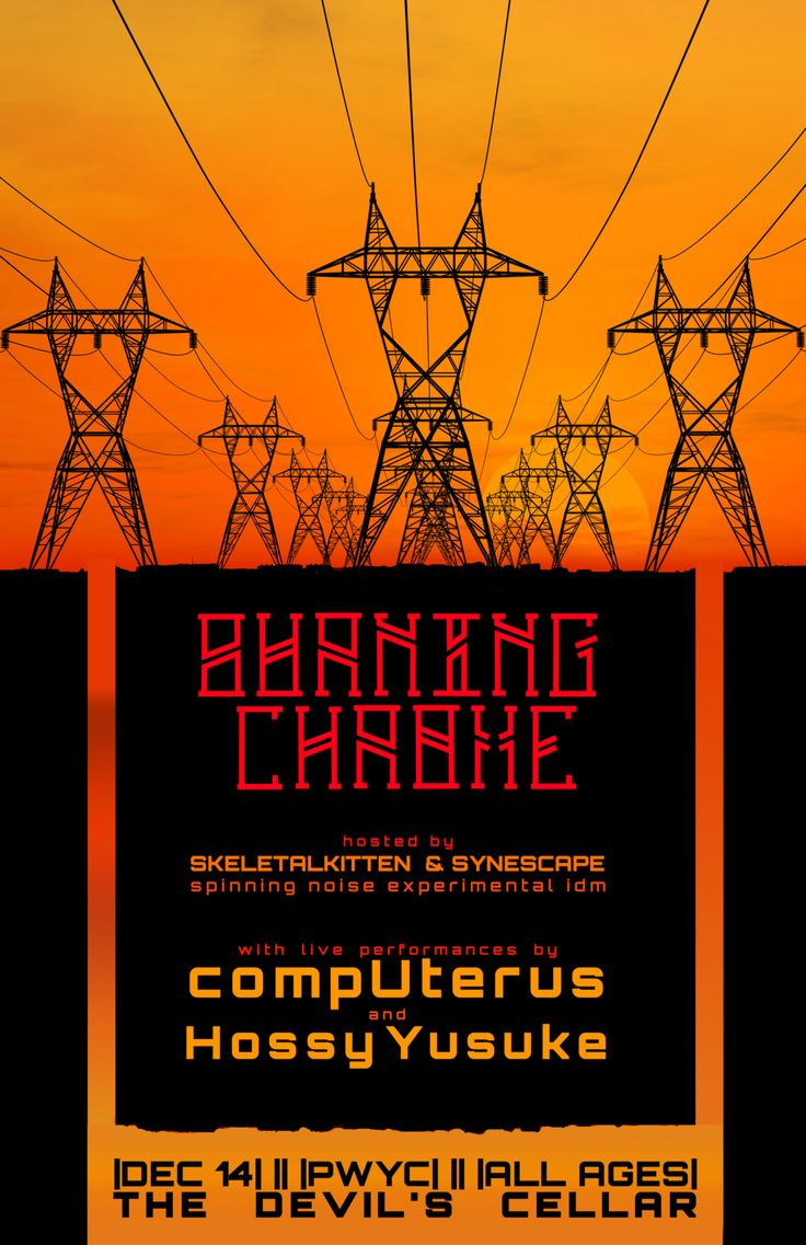 Powerlines poster for Ho Ssy and CompUterus performing live at Burning Chrome
