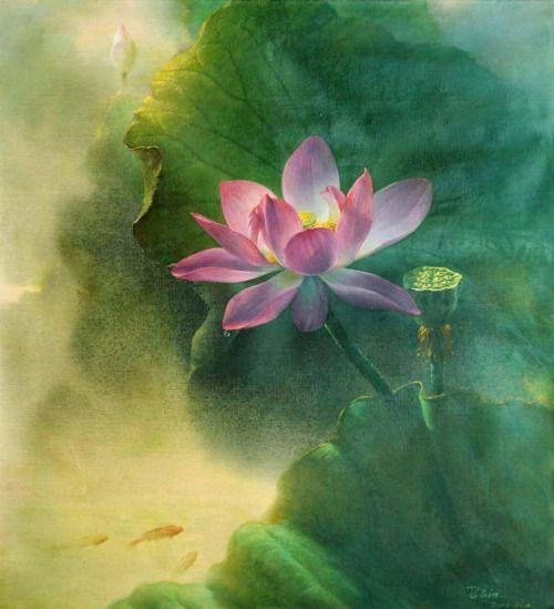 whatjanesaw:  Jiang Debin, 1963 ~ Lotus watercolor