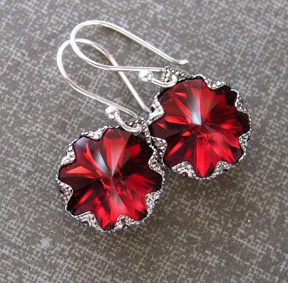 Garnet Red Earrings Sterling Silver Swarovski Deep Red Crystal Earrings Red Dangle Earrings Red Drop Earrings