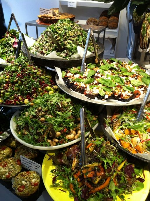 just for inspiration…big overflowing  fresh salads of all sorts…  Ottolenghi
