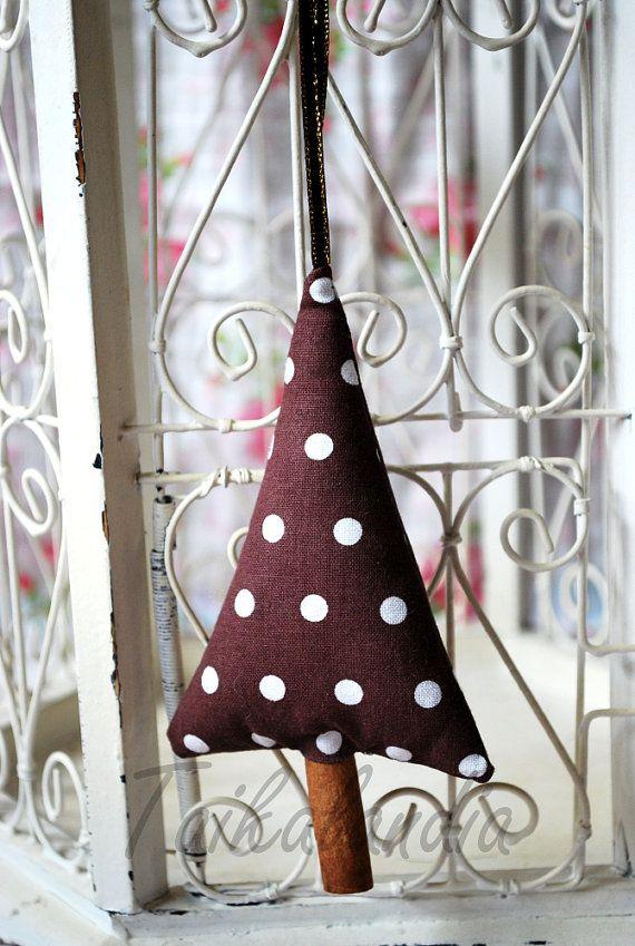 Rustic Christmas Decorations, Brown Polka Dot Cinnamon Trees, Christmas Tree Ornament