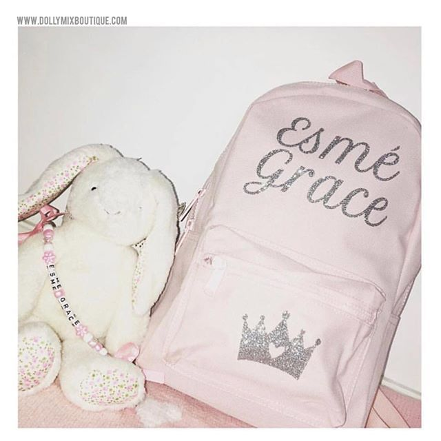 SO PRETTY 🐰💕 Silver Glitter Italic Font with Crown Pocket Image on Powder Pink Mini Backpack for Esmé Grace. CREATE YOUR OWN £17.99 via our website