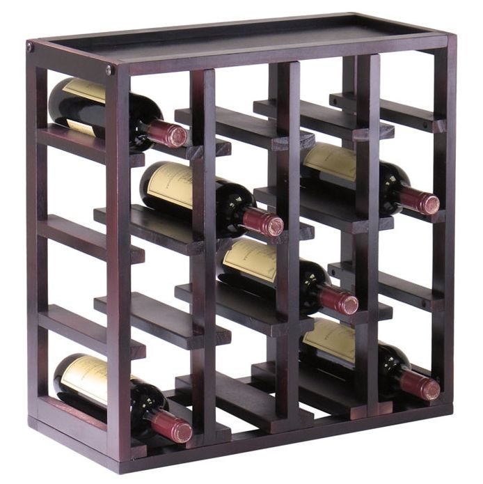16 bottle modern espresso stackable wine rack http www for 16 bottle wine cabinet with glass door espresso