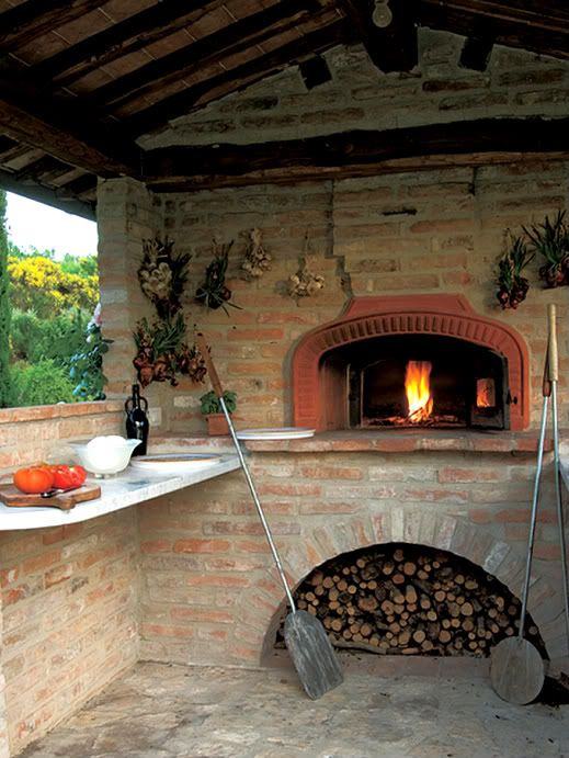 Something like this, only in my kitchen and with a much bigger space for cooking next to the oven. Oh yeah, stone, not brick lol... but a woodburning oven/stove, in a fireplace.