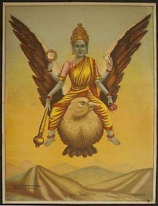 Oleograph of goddess Saraswati in the form of Lord Vishnu on Garuda
