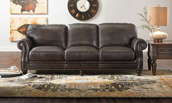 Tampa Traditional Leather Roll Arm Sofa | Traditional sofa ...