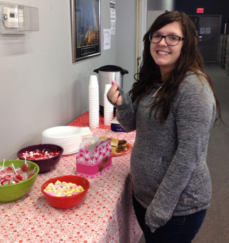 Enjoying Valentine's Day candy at the Saskatoon Campus. Yum!