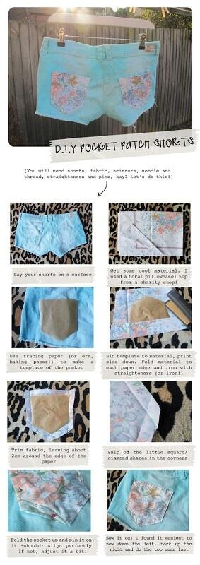 Diy pocket patch shorts