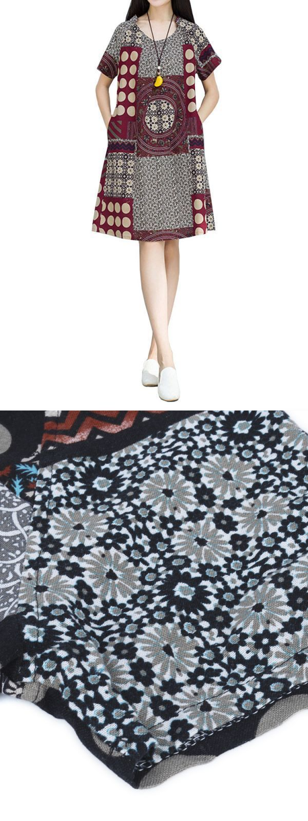 Vintage women short sleeve geometric printing cotton linen dress casual dresses in pakistan #casual #after #5 #dresses #casual #dresses #sale #casual #dresses #zalora #v #neck #casual #wedding #dresses