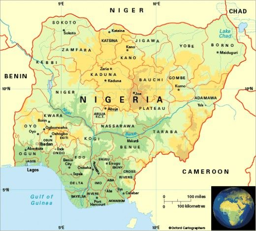Nigeria Map locating tourist cities
