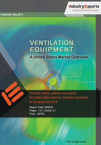 Ventilation Equipment – A US Market Overview: Ventilation product segments analyzed in this study include Axial Fans, Centrifugal Fans, Centrifugal Blowers, Cross Flow Fans, Domestic Exhaust Fans, Power Roof Ventilators, Range Hoods, Industrial Propeller Fans, Air Handling Units (AHUs) for Ventilation and Heat Recovery (HRV)/Energy Recovery Ventilation (ERV) Units. Unit shipments of ventilation equipment in the USA with a CAGR of 0.10% over 2006-15 will reach 23.65 million units by 2015.