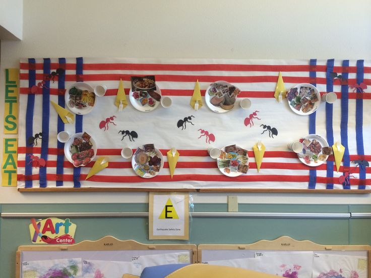Picnic bulletin board. Paper plate foods cut out of newspapers or magazines. Plastic cup folded construction paper napkin stuffed with spoon and fork. Did cut ants for fun.