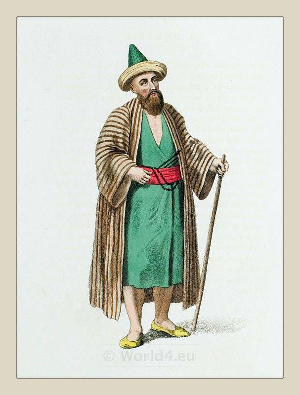A dervish. Traditional sufi costume. Ottoman empire 19th century