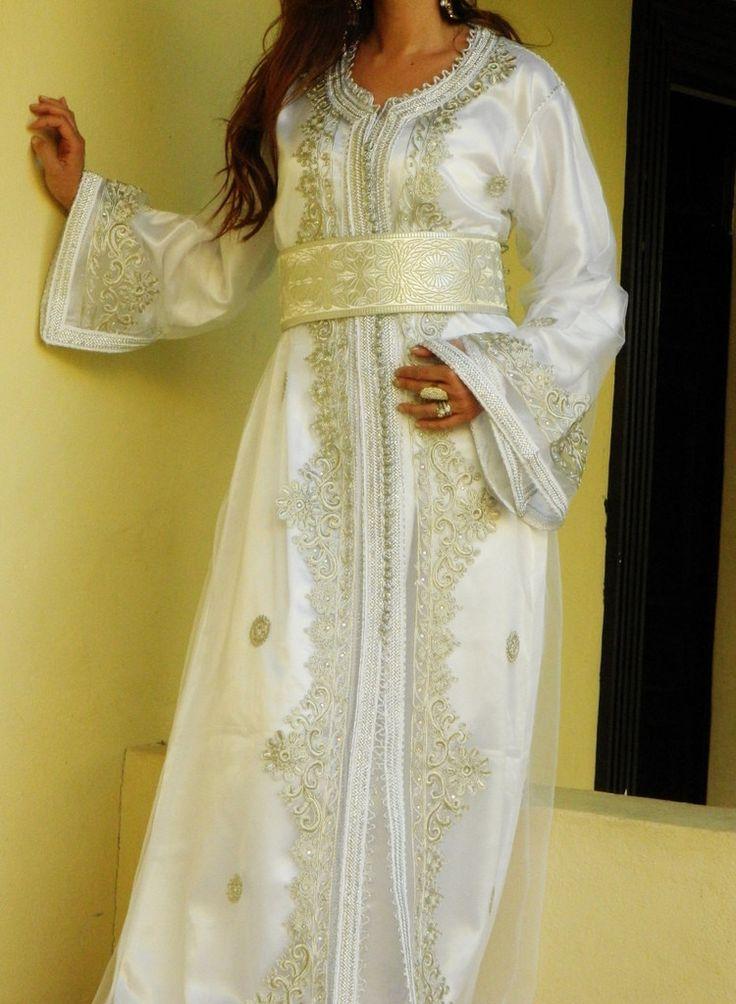 Moroccan 2 Piece Takchita Party Kaftan Modern -White Embroidery – Maison De Marrakech