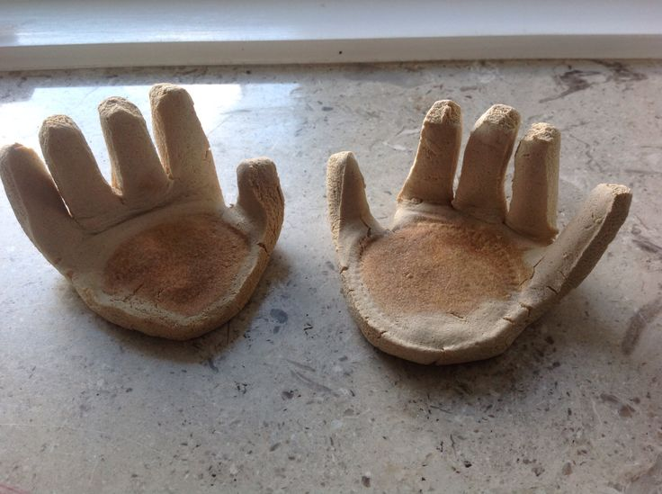 Salt dough hands for candels