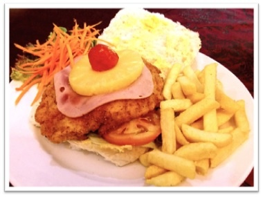 Chef's Speciality Dish of the Week - Hawaiian Crumbed Chicken Burger - A fresh bun filled with a crumbed chicken fillet topped with ham, pineapple, lettuce and tomato served with golden fries on the side @R49.95 available unti Saturday the 9th of March 2013 (not available on Sundays)