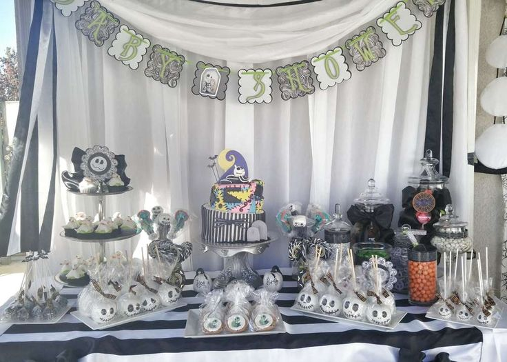Dessert table at a Nightmare Before Christmas baby shower party! See more party planning ideas at CatchMyParty.com!