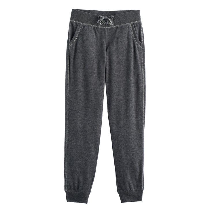 Girls 7-16 SO® Cozy Lace-Up Jogger Pants, Size: 7-8, Black