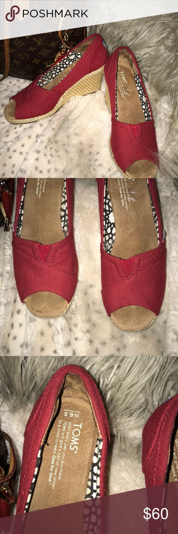 """Amazing Toms Espadrille Wedges Red 6.5 3"""" heal ❤️ These Toms wedge Espadrille shoes are red and sassy! They are 6.5 and have a 3"""" heal. Would go great with Ankle skinny jeans or a pencil skirt and funky V neck tee! Serious offers will be entertained but remember that Posh takes 20% and I need every penny as Hurricane Harvey took my job of 8 years so I'm currently looking for a new job. Selling is my only income! Thank you for your support and happy Poshing! Toms Shoes Espadrilles"""