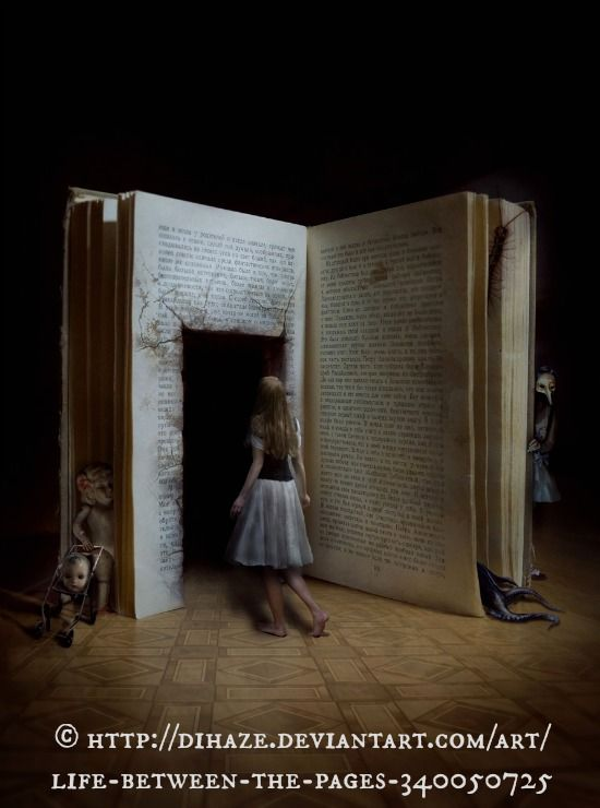 life between the pages © dihaze via deviantArt. Digital Art / Photomanipulation / Surreal. ... Copyright law requires that you credit the artist. Pin/Link directly to artist's website. COPYRIGHT LAW: http://pinterest.com/pin/86975836525792650/  REAL LIFE:  http://pinterest.com/pin/86975836525987875/  HOW TO FIND the ORIGINAL WEB SITE of an image: http://pinterest.com/pin/86975836525507659/ If you're fair, you care.