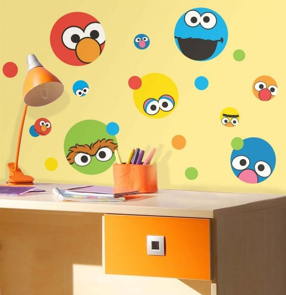 Sesame street dots stickers bits bobs brights for Elmo wall mural
