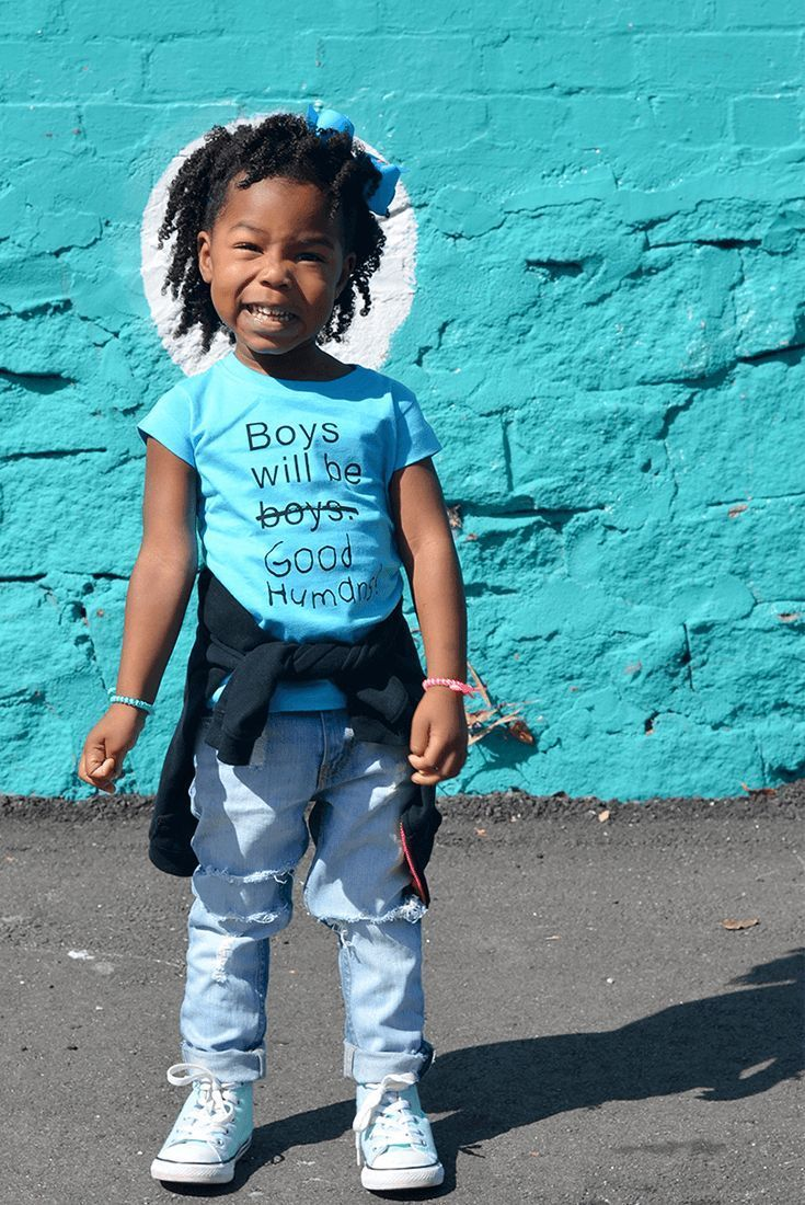 23836e10 Boys Will Be Good Humans (TM) Baby / Kids T-Shirt in baby blue - Free to Be  Kids #feministkidsshirts