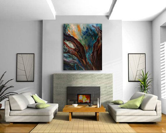 Items similar to extra large wall art japanese maple tree oil painting canvas giclee print marsala turquoise orange green teal hawaii artist donia