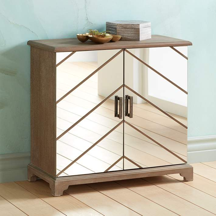 Chevron Mirrored 2-Door Cabinet - #19X60 | Lamps Plus