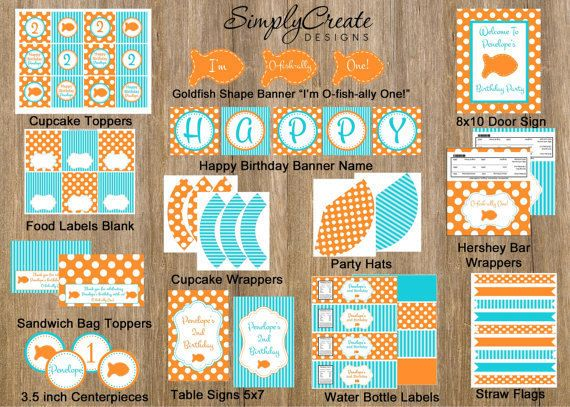 Goldfish Party Package Printable DIGITAL by SimplyCreateDesigns, $18.00