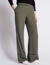 Size 10 Marks & Spencer LIMITED EDITION Wide Leg Trousers, Khaki Mix
