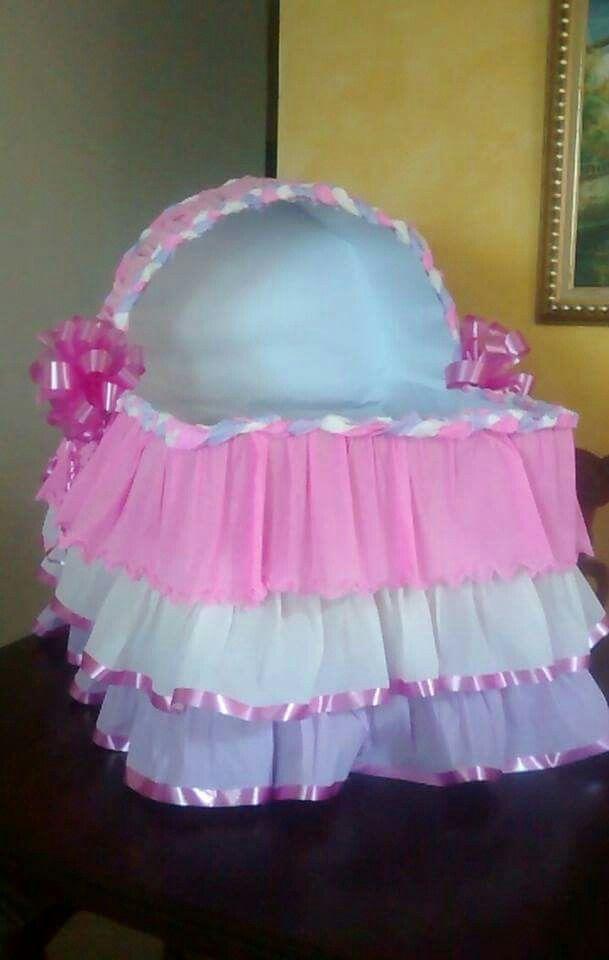 Caja de regalos tipo cuna para baby shower ni a baby - Cajas decoradas para bebes ...