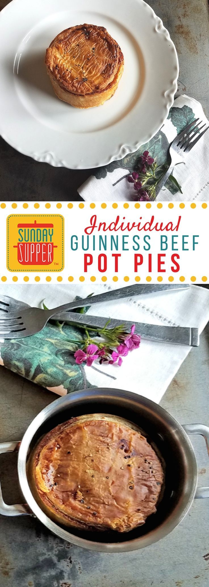 These Guinness Beef Pot Pies boast a rich stout beef stew, topped with a flaky puff pastry crust and perfectly portioned in individual ramekins #SundaySupper