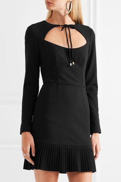 Rebecca Vallance - Beltrán Pleated Cutout Crepe Mini Dress - Black