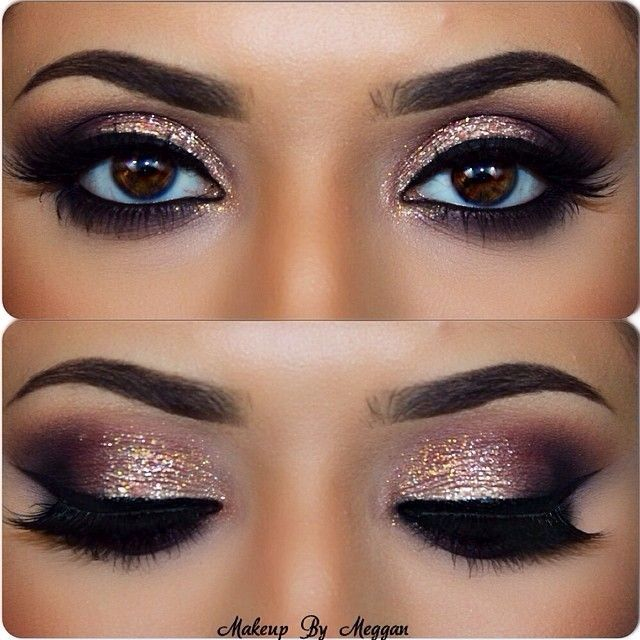 Love these eyes, dramatic and glittery and ties in the rose gold color in. This will be the makeup I'm wearing.