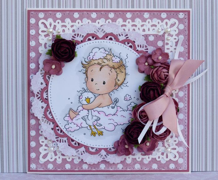 Pink Baby card created for Papirdesign.