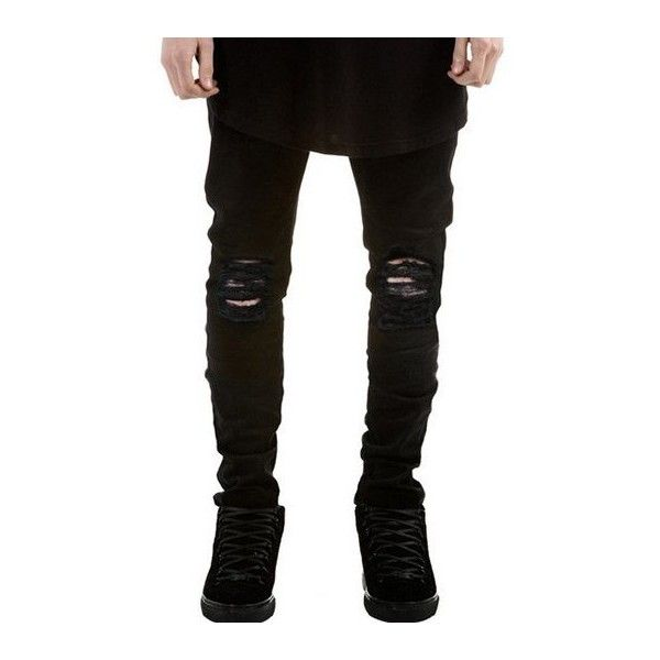 Zipper Fly Frayed Skinny Ripped Jeans (29 CAD) ❤ liked on Polyvore featuring men's fashion, men's clothing, men's jeans, mens skinny fit jeans, mens super skinny ripped jeans, mens super skinny jeans, mens skinny jeans and mens distressed jeans