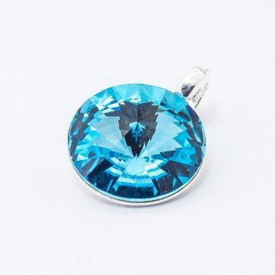Swarovski Rivoli Pendant 12mm Aquamarine  Dimensions: length: 1,7cm stone size: 12mm Weight ~ 1,40g ( 1 piece ) Metal : sterling silver ( AG-925) Stones: Swarovski Elements 1122 12mm Colour: Aquamarine 1 package = 1 piece Price 12.90 PLN