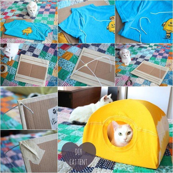 Diy No Sew Cat Bed From T Shirt Diy Cat Tent Cat Tent Pet Diy Projects