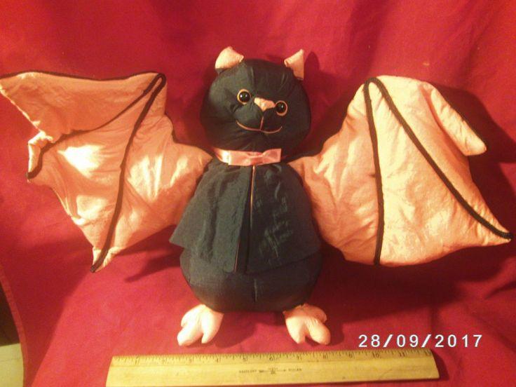 Vintage Halloween Bat International Silver Co Nylon Plush Stuffed Decoration