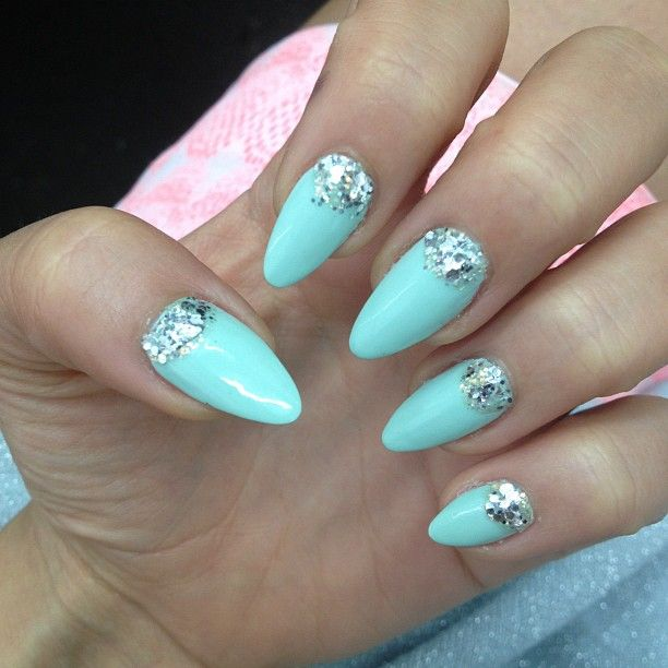 Best 25 tiffany blue nails ideas on pinterest tiffany nails mint with chunky silver glitter half moons nail art design prinsesfo Gallery
