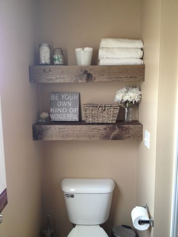 DIY floating shelves for a small space - love how thick the wood for these shelves are. Perfect for a small half bath.