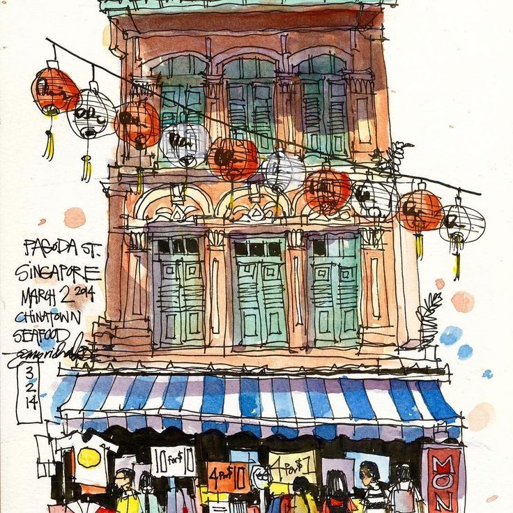 On location in Singapore.  Chinatown shophouse, drawn from sidewalk restaurant table serving fresh crab.  During watercoloring I ran out of water, so did most of the painting mixing the pigment with Tiger beer.  I think it added a nice warm tone to the image.Early morning sketch from hotel window.  #jrsketchbook #jamesrichardssketchbook #freehand #sketch #sketchbook #travelsketch #jamesrichards #Singapore #shophouse #escodabrushes #moleskine #travel #watercolor #inkandwatercolor…