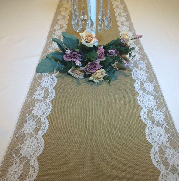 Wedding Reception Burlap Linen Lace Table Runner by GemsforDivas