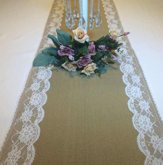 Wedding Reception Burlap Linen Lace Table Runner by GemsforDivas